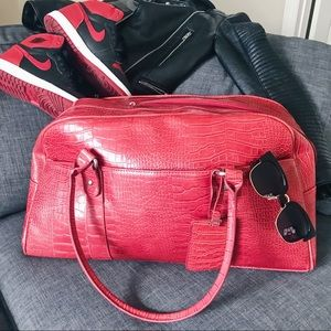 🔥 LIMITED EDITION! Red Faux Snakeskin Weekend Bag